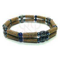 Bracelet double en noisetier et lapis lazuli de PUR NOISETIER