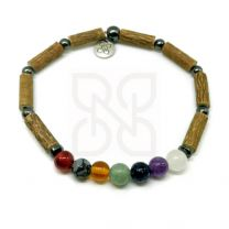 Bracelet simple en noisetier chakras de PUR NOISETIER